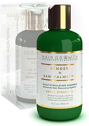 Hair Growth Shampoo Step 2: Ginger - Saw Palmetto Lab Formulated Anti-Hair Loss Botanical DHT Blocker and Alopecia Prevention 10.2 Oz.