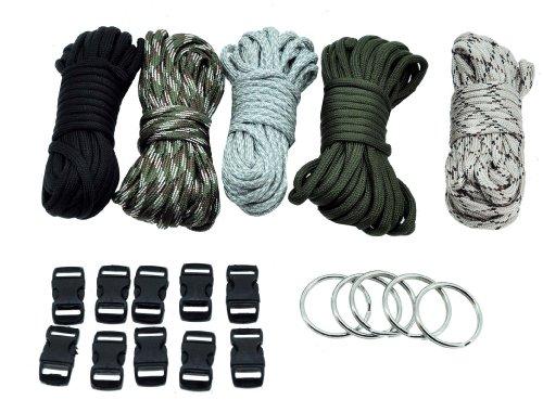 Mandala Crafts® Paracord Kit Black, Woodland, ACU, Desert Camo and Olive Drab, 10 Buckles 5 Keyrings