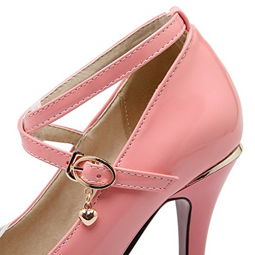 AllhqFashion Mujer Sólido Pu Tacón Alto Puntera Cerrada Puntera Redonda Hebilla De salón Rosa