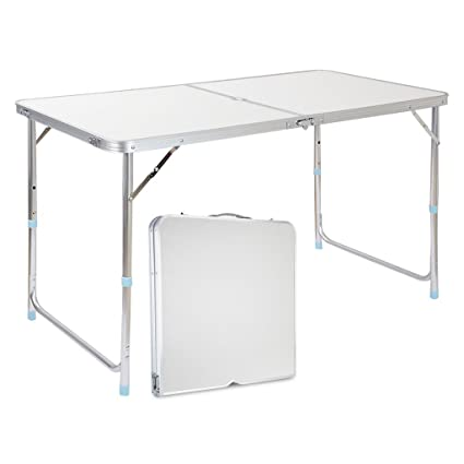 Delightful Finether Portable Folding Table Sturdy And Lightweight Steel Frame Legs, 4  Adjustable Heights Feet,
