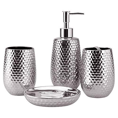 4-Piece Ceramic Bathroom Accessories Set, Moroccan Trellis Bathroom Ensemble Complete Sets for Bath Decor Includes Soap Dispenser Pump, Toothbrush Holder, Tumbler, Soap Dish, Ideas Home Gift (Silver) (Bathroom Accessories Silver)
