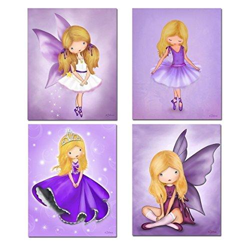 Purple Room Decor Posters for Kids Bedroom Nursery Art Blond Hair Girl Ballerina Princess Fairy Angel Unframed 8
