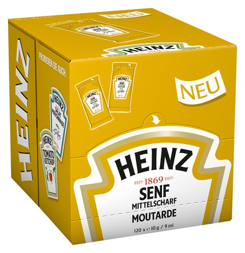Heinz Senf mittelscharf Portions Beutel, 120er Pack (120 x 10g /9 ml )