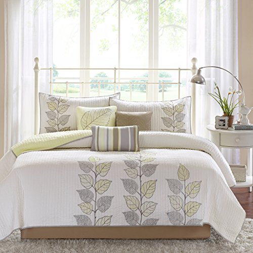 Madison Park Caelie Queen Size Quilt Bedding Set - Yellow, White, Leaf Embroidery - 6 Piece Bedding Quilt Coverlets - Ultra Soft Microfiber Bed Quilts Quilted Coverlet