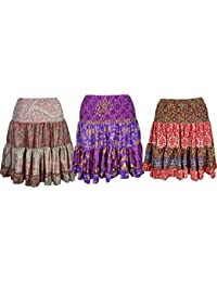 Womens Swirling Gypsy Skirt Vintage Recycled Full Flare Boho Spring Knee Length Skirts Lots Of 3
