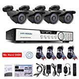 HISVISION 8-Channel HD-TVI 1080N/720P Video Security System DVR recorder with 4x 720P Indoor/Outdoor Weatherproof CCTV Cameras NO Hard Drive, Motion Alert, Smartphone& PC Easy Remote Access