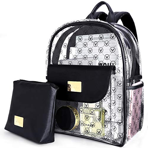 Vanku Heavy Duty Clear Backpack Transparent Book Bags for School Girls Adults Women with Cosmetic Bag -