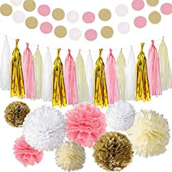 Bekith 30 pc Pink and Gold Party Decorations - Paper Pom Poms, Glitter Garlands, Tassels - Tissue Pom Poms Flowers for Birthday Party, Engagement, Wedding, Baby Shower