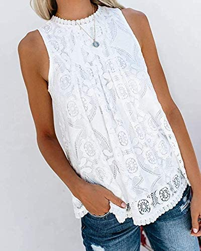 Womens Plus Size V Neck Tank Tops Lace Floral Halter Tops Blouse