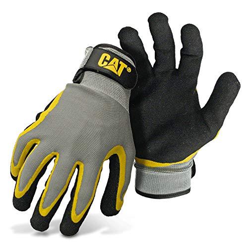 CAT CAT017415M Double Coated Latex Palm Gloves, Grey, Medium