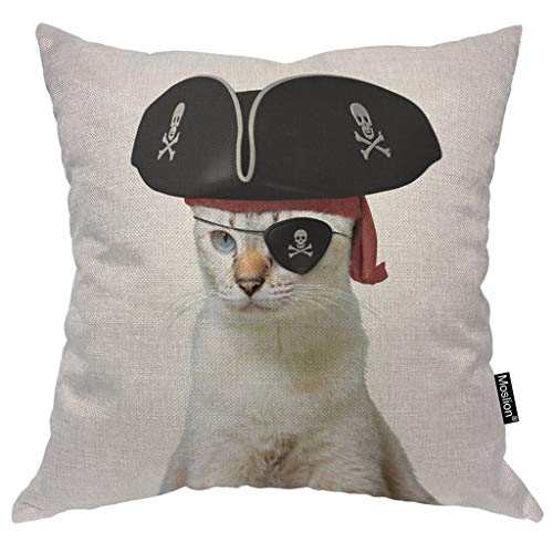 Moslion Cat Throw Pillow Case Funny Animal Kitten Cat Pirate Captain with Skull Skeleton Hat Pillow Cover Decorative Square Cushion Accent Cotton Linen 20x20 Inch for Sofa Chair