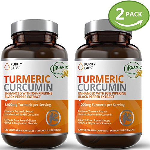 2 Bottle Bundle Turmeric Curcumin Capsules – 120 Count 1100mg Serving, Tumeric Supplement Organic with Piperine Black Pepper Extract, Anti Inflammatory Back Pain Relief and Weight Loss Support