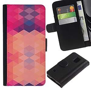 Paccase / Billetera de Cuero Caso del tirón Titular de la tarjeta Carcasa Funda para - polygon pink purple pattern abstract - Samsung Galaxy S5 V SM-G900