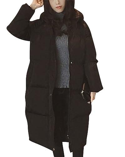Mujer Manga Larga Chaqueta Espesar Larga Abrigo Parka Con Capucha