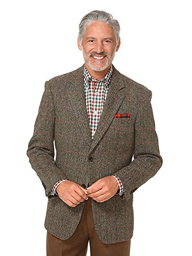 Paul Fredrick Men's Harris Tweed Windowpane Sport Coat Coffee 42 Short
