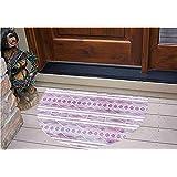 "3D Semicircle Floor Stickers Personalized Floor Wall Sticker Decals,Ethnic Design Hand Drawn Borders Aztec Native,Kitchen Bathroom Tile Sticker Living Room Bedroom Kids Room Decor Art Mural D23.6"""