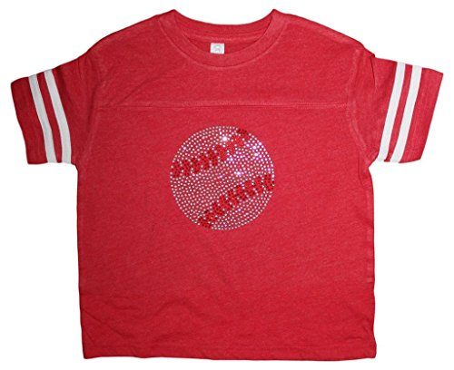 (Little Girls Rhinestone Bedazzled red Baseball tee Shirt 12yr (Youth Large))