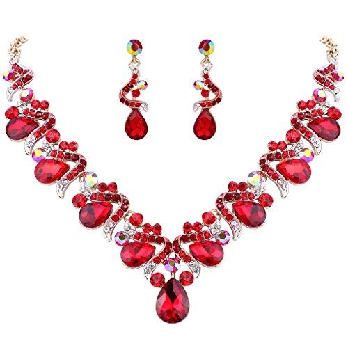 Brooch Earring Jewelry Set (FANZE Women's Austrian Crystal Bohemian Bowknot Teardrop Bridal Earrings Necklace Jewelry Set Gold-Tone Red)