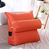 LUOTIANLANG Office sofa cushion pillow waist pillow for pregnant women Home Furnishing ornaments triangle comfortable cushion,Vibrant orange,50x180x20cm