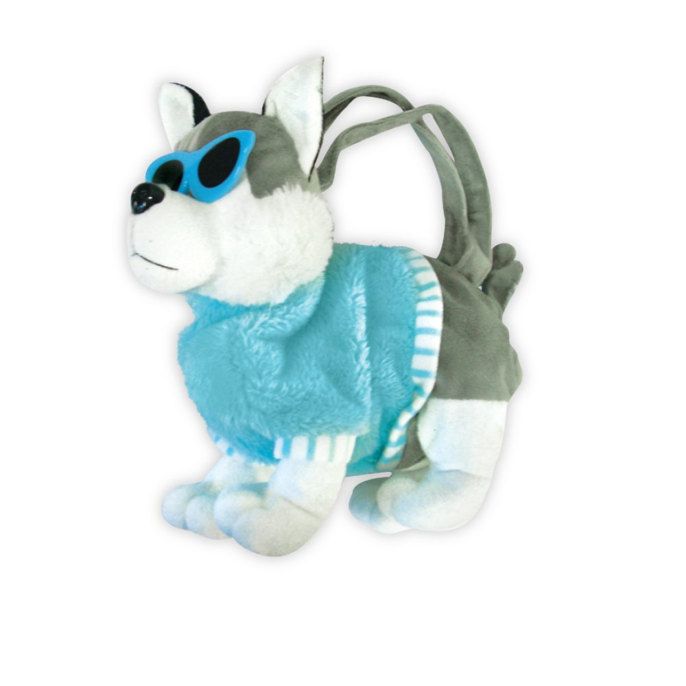 PlushプードルwithサングラスAdorable Childrensハンドバッグスクールバッグ ブルー PR-14  ブルー B078JFYKQT