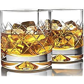 Premium Whiskey Glasses – Large – 12oz Set of 2 – Lead Free Hand Blown Crystal – Thick Weighted Bottom – Seamless Handmade Design – Perfect for Scotch, Bourbon, Manhattans, Old Fashioned's, Cocktails