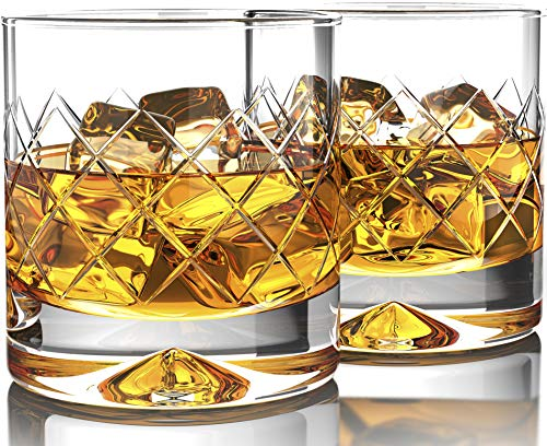 Premium Whiskey Glasses - Large - 12oz Set of 2 - Lead Free Hand Blown Crystal - Thick Weighted Bottom - Seamless Handmade Design - Perfect for Scotch, Bourbon, Manhattans, Old Fashioned's, Cocktails