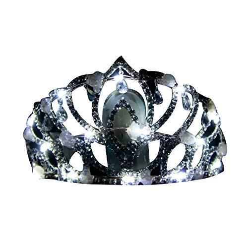- LED Light Up Halloween Crown - Flashing Rhinestone Halloween Tiara Headband Cosplay LED Princess Tiara for Women/Girl(White)