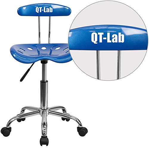 Flash Furniture LF-214-BRIGHTBLUE-TXTEMB-VYL-GG Vibrant Bright Blue and Chrome Task Chair with Tractor Seat