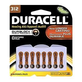 Duracell 1.4 Volt Zinc Air Hearing Aid Batteries Size 312 DA312B8 (8 Batteries)