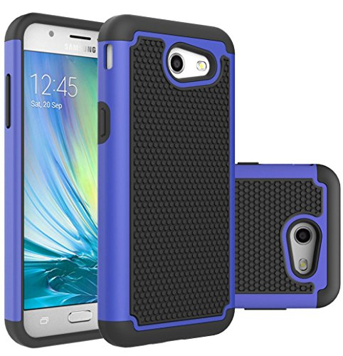 Galaxy J3 Emerge Case,Galaxy J3 Prime Case,J3 Luna Pro Case,J3 Eclipse Case,Galaxy Express/Amp Prime 2 Case,Asmart Shockproof Samsung Galaxy J3 2017 Case Dual Layer Cover Defender Phone Case (Blue)