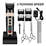Pet Grooming Clippers, FOCUSPET 3-Speed Professional Pet Clippers Kit Rechargeable Cordless 2 Charge Modes Low Noise Electric LED Dispaly Hair Trimming Clippers Set For Dogs Cats Other Animals