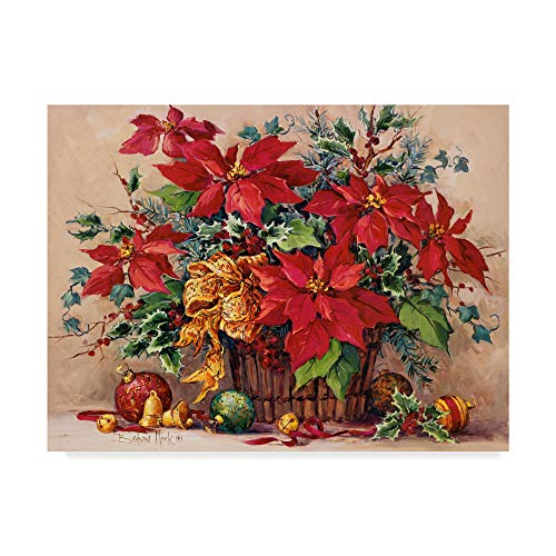 Trademark Fine Art Barbara Mock 'Festive Poinsettia Basket' Canvas Art