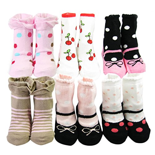 KF Baby Non-Skid Baby Girl Socks, 6 pairs, Infants to Toddlers