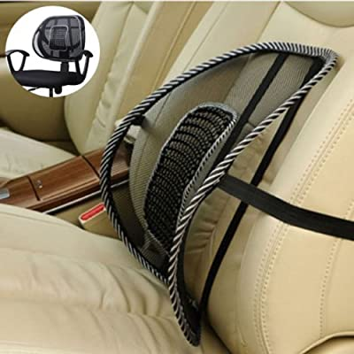 PrimeTrendz TM Black Lumbar Mesh Back Brace Support Office Home Car Seat Chair Ventilate Cool Cushion Pad with Massage(1 Piece)