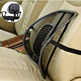 PrimeTrendz TM Black Lumbar Mesh Back Brace Support Office Home Car Seat Chair Ventilate Cool Cushion Pad with Massage (1 Piece)