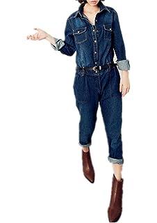 a3df9412525d Amazon.com  New Womens Denim Boiler Suit Ladies Jumpsuit Blue Size 6 ...