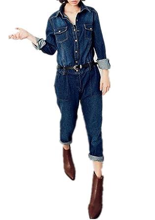 1d1a403aafa Amazon.com  Klorim Women s Long Sleeve Unlined Denim Overalls  Clothing