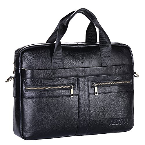 daa73bda1637 Men s Briefcase TECOOL Genuine Leather Laptop Business Shoulder Bag  Messenger Bag Satchel Bag