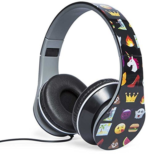 Homemade Autumn Fairy Costume - Emoji Variety Print Folding Fatheads Headphones BLACK