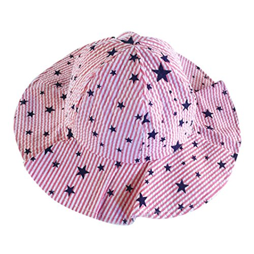 WARMSHOP Baby Toddler Sun Beach Beanie Cap Boys Girls Stars Print Bucket Reversible Sun Protection Hats Caps (Red)