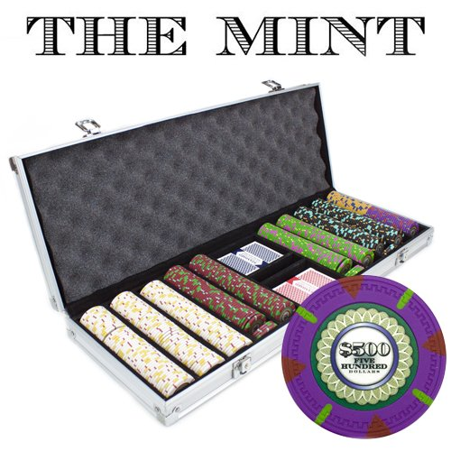 500 Count 'The Mint' Poker Chips in Aluminum Carrying Case, 13.5g Clay Composite Chips - Deluxe Set w/ 2 Playing Card Decks, Dealer Button, & 5 Dice by Claysmith Gaming ()