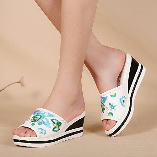 Con white Vacanza Di Libero Tempo China Beach Vintage Scarpe Drag Boemia La Scarpe Zuccherino GTVERNH Cm Stile Ricamato Pantofole Folk Di 5 nqUI1wZxw