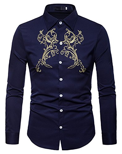 Whatlees Mens Solid Long Sleeve Slim Fit Embroidery Overlap Design Button Down Dress Shirt by WHATLEES