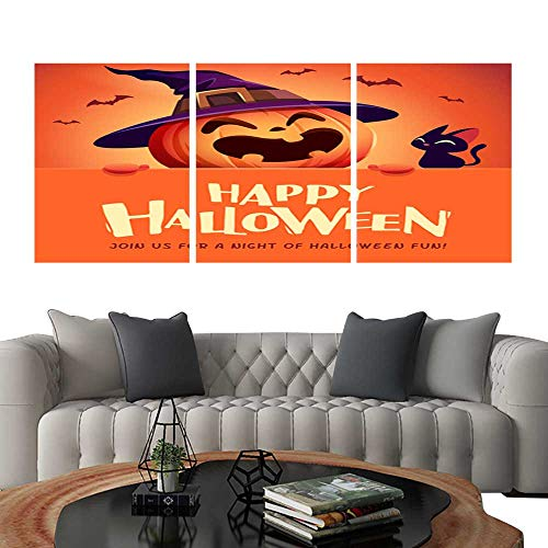 UHOO Canvas Print Wall Art Happy Halloween! Jack O Lantern Pumpkin Witch hat with Big Signboard 1. Art Stickers -