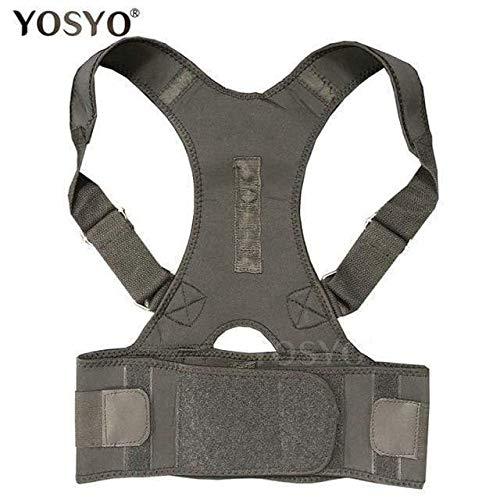 Posture Corrector Magnetic Therapy Brace Shoulder Back Support Belt for Men Women Braces & Supports Belt Shoulder Posture (Black, X Large)