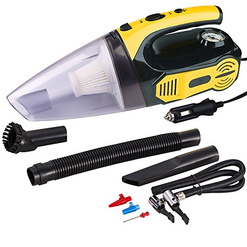 Vacuums 12V Car Cleaner Mini Handheld 120W High Power Super Suction Wet and Dry Dual 4M Power Cord Inflatable Test Tire Pressure Suction Absorbent (Color : Yellow) ()