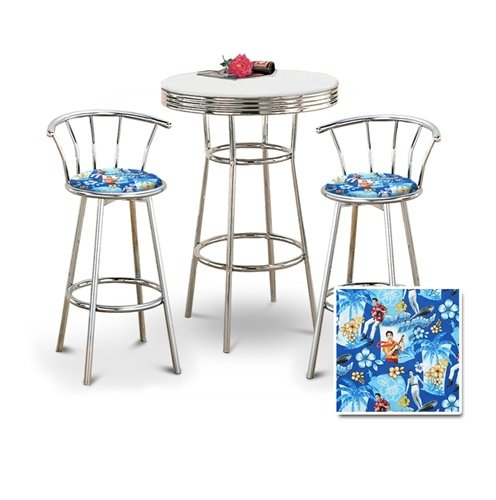 Chrome Bar Table & 2 Chrome 29'' Elvis Presley Blue Hawaii Fabric Seat Barstools by The Furniture Cove