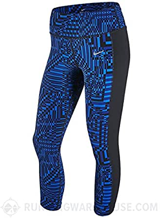 Nike Women's Printed Epic Lux Crop Capri Pants, Royal Blue/Black, XS