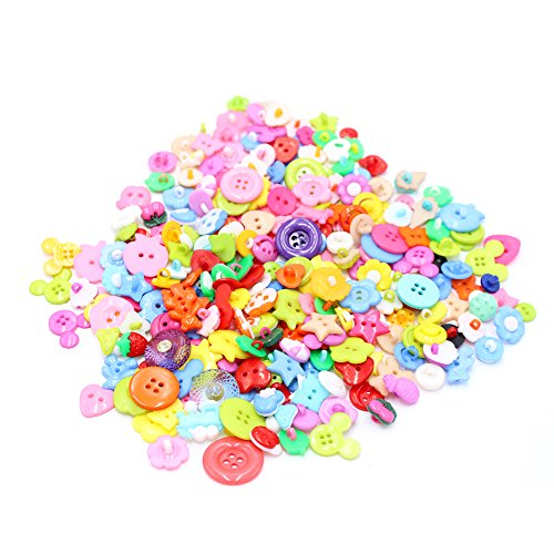 LAOZHOU Mixed Small Plastic Children Buttons Lot for Sewing Fasteners Scrapbooking and DIY Handmade Craft with Different Color and Style (plastic-200pcs) (Mix Color/size)