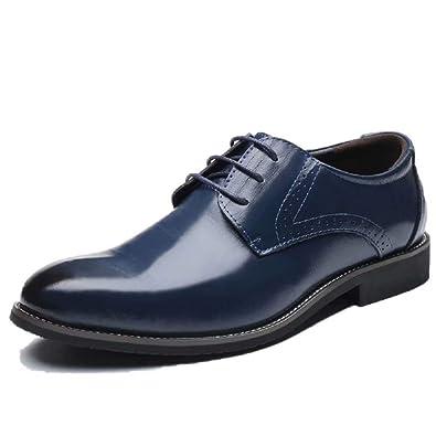 buy popular bf1f9 a1ce5 Scarpe Uomo Pelle, Brogue Stringate Derby Basse Oxford Vintage Verniciata  Elegante Sera Nero Marrone Blu Rosso 37-48EU